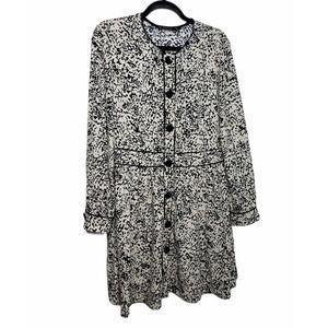 Zara Basic button front print mini dress